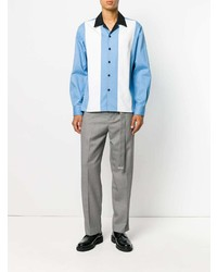 Camisa de Manga Larga en Blanco y Azul de AMI Alexandre Mattiussi
