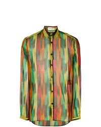 Camisa de Manga Larga en Multicolor de Saint Laurent