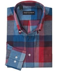 Camisa de Manga Larga en Rojo y Azul Marino