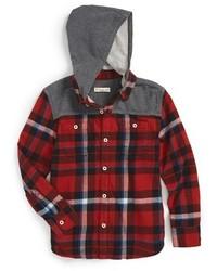 Camisa de manga larga en rojo y negro