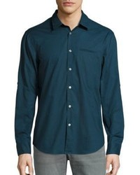 Camisa de manga larga en verde azulado