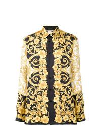 Camisa de manga larga estampada amarilla de Versace