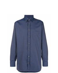 Camisa de Manga Larga Estampada Azul Marino de Brioni