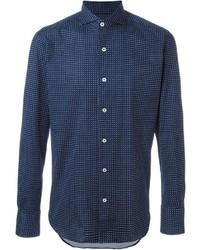 Camisa de manga larga estampada azul marino de Canali