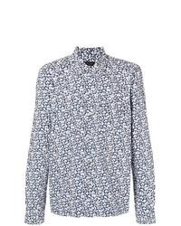 Camisa de manga larga estampada azul marino de Dell'oglio