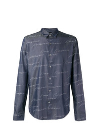 Camisa de manga larga estampada azul marino de Emporio Armani
