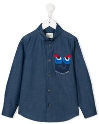 Camisa de manga larga estampada azul marino de Fendi