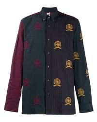 Camisa de manga larga estampada azul marino de Hilfiger Collection