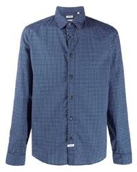 Camisa de manga larga estampada azul marino de Kenzo