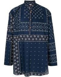Camisa de manga larga estampada azul marino de Kolor