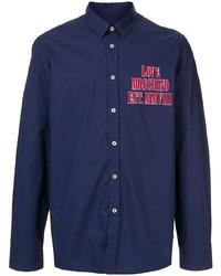 Camisa de manga larga estampada azul marino de Love Moschino