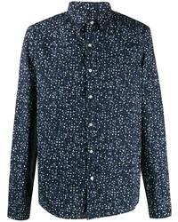 Camisa de manga larga estampada azul marino de Michael Kors