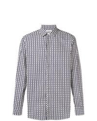 Camisa de manga larga estampada azul marino de Valentino