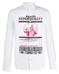 Camisa de manga larga estampada blanca de Kenzo