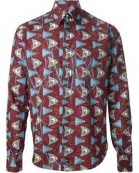 Camisa de manga larga estampada burdeos