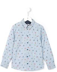 Camisa de manga larga estampada celeste