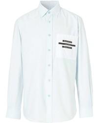 Camisa de manga larga estampada celeste de Burberry