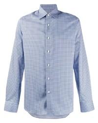 Camisa de manga larga estampada celeste de Canali