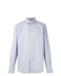 Camisa de manga larga estampada celeste de Ermenegildo Zegna