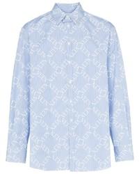 Camisa de manga larga estampada celeste de Valentino