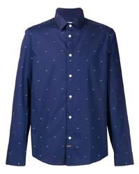 Camisa de manga larga estampada en azul marino y blanco