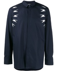 Camisa de manga larga estampada en azul marino y blanco de Neil Barrett