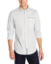 Camisa de manga larga estampada en beige