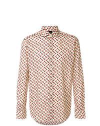 Camisa de manga larga estampada en beige de Bagutta