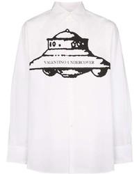 Camisa de manga larga estampada en blanco y negro de Valentino