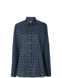 Camisa de manga larga estampada en gris oscuro de Lanvin