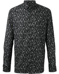 Camisa de Manga Larga Estampada en Negro y Blanco de Lanvin