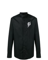 Camisa de Manga Larga Estampada en Negro y Blanco de Philipp Plein