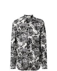 Camisa de Manga Larga Estampada en Negro y Blanco de Saint Laurent