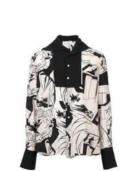 Camisa de Manga Larga Estampada en Negro y Blanco de Wales Bonner