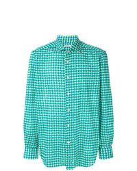 Camisa de manga larga estampada en verde menta de Kiton