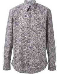 Camisa de manga larga estampada gris de Fendi