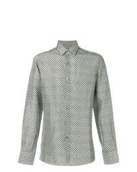 Camisa de manga larga estampada gris de Lanvin