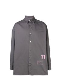 Camisa de manga larga estampada gris de Raf Simons