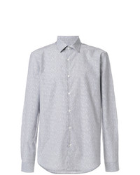 Camisa de manga larga estampada gris de Versace Collection