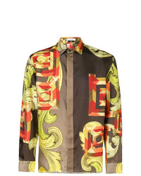 Camisa de manga larga estampada marrón claro de Versace Collection