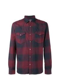 Camisa de Manga Larga Estampada Morado Oscuro de Woolrich