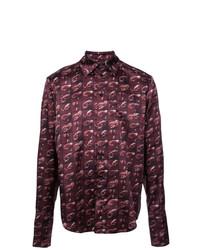 Camisa de manga larga estampada morado oscuro de Yang Li