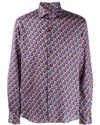 Camisa de manga larga estampada morado de Etro