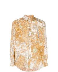 Camisa de manga larga estampada naranja de MSGM