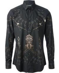 Camisa de manga larga estampada negra