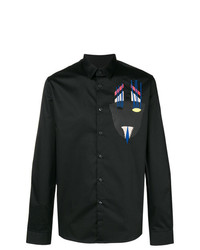 Camisa de manga larga estampada negra de Diesel Black Gold