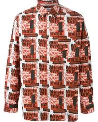Camisa de manga larga estampada roja de Comme des Garcons