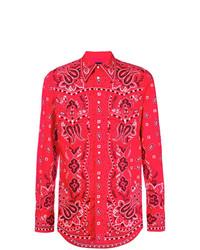 Camisa de manga larga estampada roja de DSQUARED2