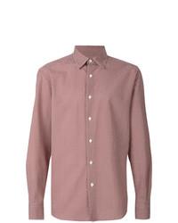 Camisa de manga larga estampada roja de Ermenegildo Zegna