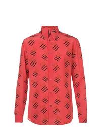 Camisa de manga larga estampada roja de Givenchy